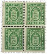 Danmark - Tjenestemærke AFA 7 i postfrisk 4-blok