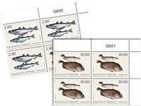 Fisk i Grønland II - Postfrisk - 4-blok øvre marginal