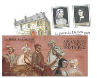 France - Peace of the Ladies, Treaty of Cambrai - Mint souvenir sheet in folder