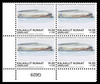 Dronningens akvareller - FGB - Postfrisk - 4-blok nedre marginal