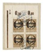 États allemands 1919 - Michel 152 3x + 152 AI in blok van 4 - Oblitéré