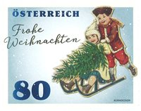 Austria - Children with sleds - Mint stamp from coil