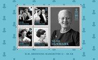 Danemark - Reine Margrethe 80 ans - Bloc-feuillet neuf