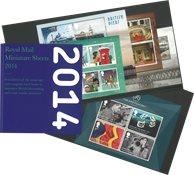 England - Miniark 2014 i mappe - Postfriske miniark. Specialpris