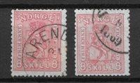 Norvège 1867 - AFA 15+15a - Oblitéré