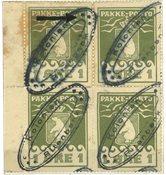 Grønland - 1905 1 øre oliven, 4-blok med ovalstempel