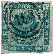 Danmark - 1854, AFA 3, 2 skilling blå