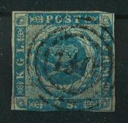 Danemark - 1854, AFA 3, 2 skillings bleu
