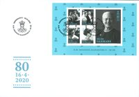 Denmark - Queen Margrethe 80 years - First Day cover with souvenir sheet