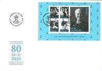 Danemark - Reine Margarethe 80 ans - Enveloppe premier jour avec bloc-feuillet