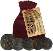 Emperors, Gods and Legions - 5 historic coins in velvet bag