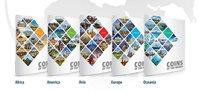 Collection continents : Afrique, Amérique, Asie, Europe et Océanie - 5 pochettes, 203 monnaies