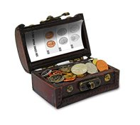 Treasure chest with coins - with 100 coins from 100 countries
