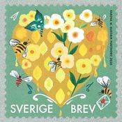 Suède - Sincères salutations - Timbre neuf jaune