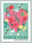 Suède - Sincères salutations - Timbre neuf rose