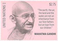 United Nations New York - Mahatma Ghandi - Mint stamp engraved by Martin Mörck