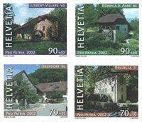 Suisse - Moulins à l'eau - Série neuve 4v