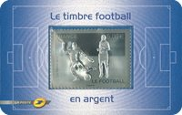 Frankrig - Fodboldfrimærke i ægte sølv - Flot frimærke i lufttæt indkapsling