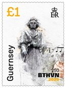 Guernesey - Ludwig van Beethoven 250 ans - Timbre neuf