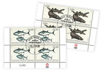 Fish in Greenland III - Date cancellation - Block of four lower marginal