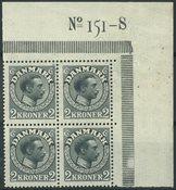 Danmark - AFA 76 postfrisk 4-blok nr. 151-S