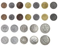 Kolmannen valtakunnan kolikot - 12 kolikkoa ja kaksi *pularahaa*