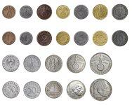 Det Tredje Riges mønter - 12 mønter og 2 nødfrimærker