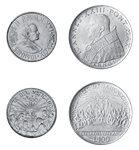 Dobbelt kanonisering - 2 pavemønter i skrin
