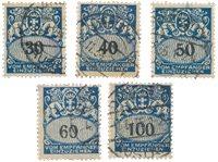 Allemagne / Danzig 1923 - Michel 33/37 - Oblitéré