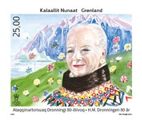 Groenland - Reine Margrethe 80 ans - Timbre neuf