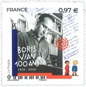 Frankrig - Boris Vian - Postfrisk frimærke