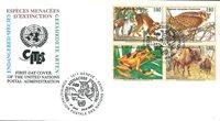 NU Genève - Animaux en voie de disparition 1995 - Env.premier jour
