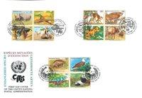 FN - Truede dyr 1995 - Førstedagskuvert triple