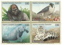 FN Geneve - Truede Dyr 1993 - Postfrisk sæt 4v