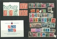 Liechtenstein - Postfrisk og stemplet på et indstikskort