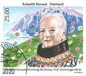 Dronning Margrethe II 80 år - Dagstemplet - Frimærke