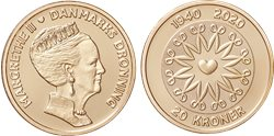 Danmark 2020 - Dronning Margrethe II 80 år - 20 kr. mønt