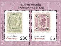 Østrig - Klassiske frimærker 1891/1896 - Postfrisk miniark