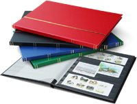 Stockbook - assorted colors-Size A4-16 black pages  - Leather-like binding
