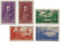 Monaco - 1937 - YT 135/139, neuf