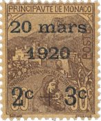 Monaco - 1920 - Yvert 36, neuf avec charnière