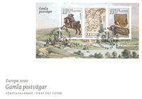 Zweden - EUROPA 2020 Ancient Postal Routes - FDC  met  souvenirvelletje