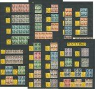 Danmark - Postfærge stemplet i 4- og 8-blokke