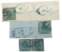 Danmark - AFA 3 stemplet, 2 i brevklip og 1 par
