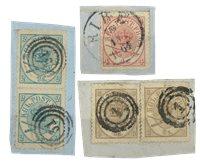 Danmark - AFA 11+13-14 stemplet på brevklip