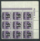 Danmark - AFA 32 postfrisk portomærke i 4-blok, 15/12 provisorier