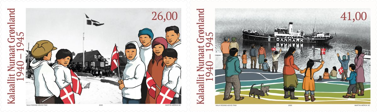 格陵兰岛5月18日发行第二次世界大战中的格陵兰岛V邮票