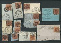 Danmark - AFA 4+7+9 stemplet på brevklip
