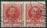 Danmark - AFA 55x stemplet i par *opstående hårlok*