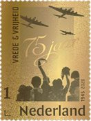 Netherlands - 75th anniversary of the Liberation of the Netherlands gold stamp - Mint stamp in box - Mint souvenir sheet